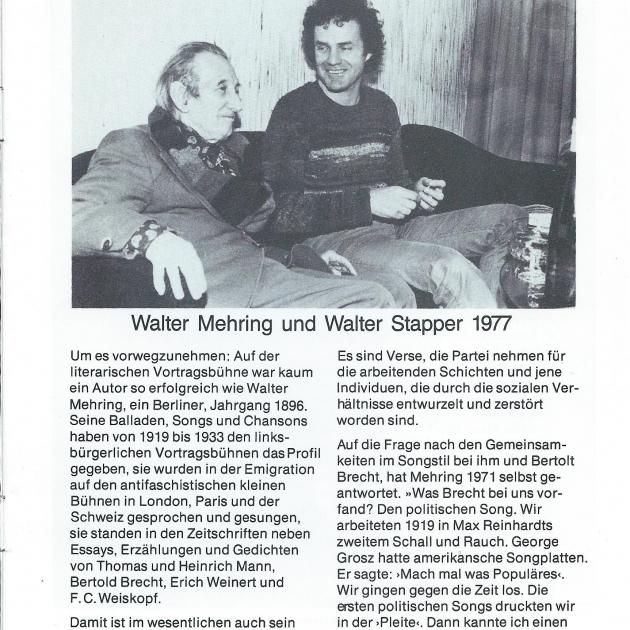 """Programmheft """"De verbrannten Dichter"""" von Walter Stapper, Seite 3"""