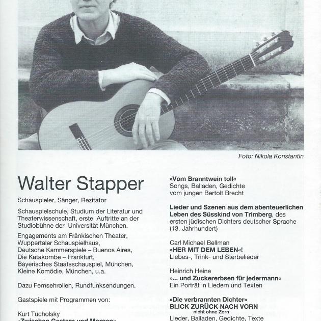 """Programmheft """"De verbrannten Dichter"""" von Walter Stapper, Seite 12"""