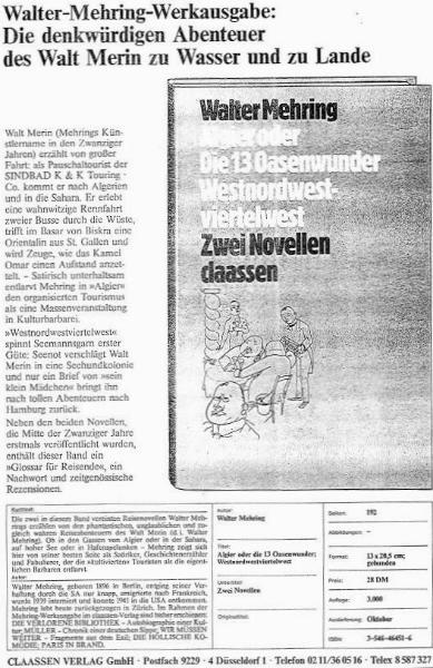 Walter Mehring: Algier oder Die 13 Oasenwunder / Westnordwestviertelwest