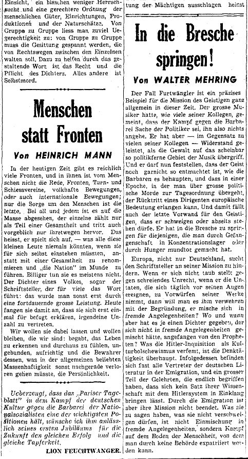 """""""Walter Mehring: """"In die Bresche springen!"""" - Faksimile aus dem """"Pariser Tagblatt"""", Nummer 365 / 2. Jahrgang"""