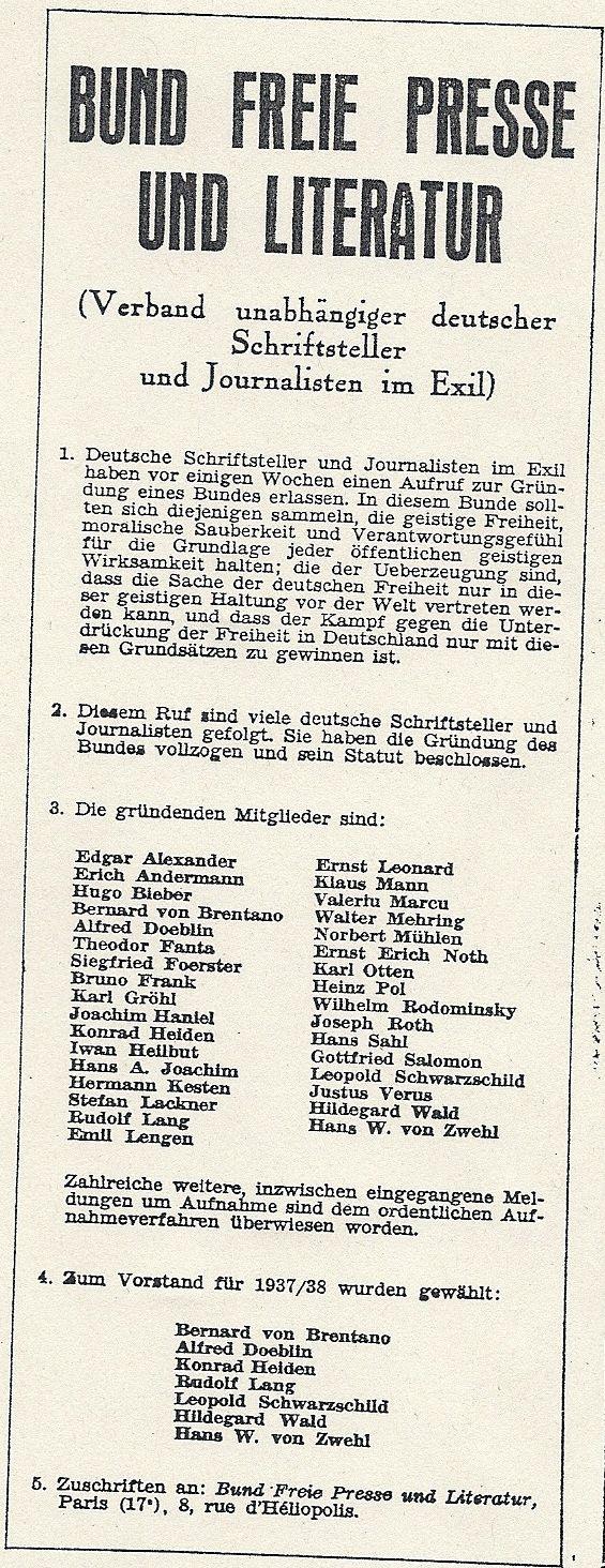 Gründungsanzeige des Bundes Freie Presse und Literatur 1937