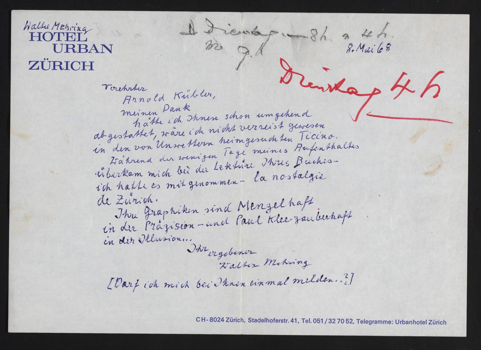 Walter Mehrings Brief an Arnold Kübler vom 8. Mai 1968