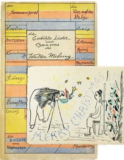 Eigenhändig von Walter Mehring gezeichnte Postkarte