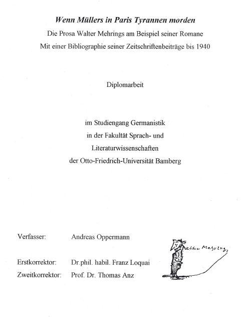 Die Prosa Walter Mehrings am Beispiel seiner Romane