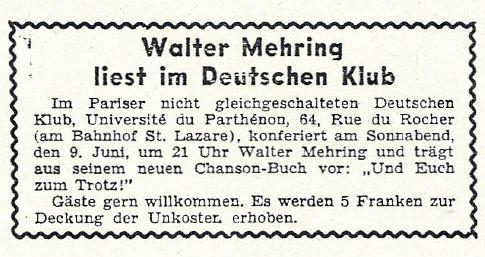 Anzeige im Neuen Tage Buch vom 9. Juni 1934