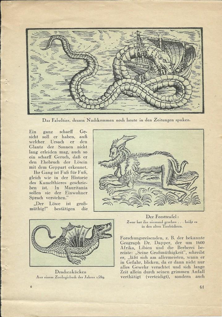Walter Mehring: Zoologie vor 400 Jahren; erschienen in: Der Uhu, Februar 1929, S. 61