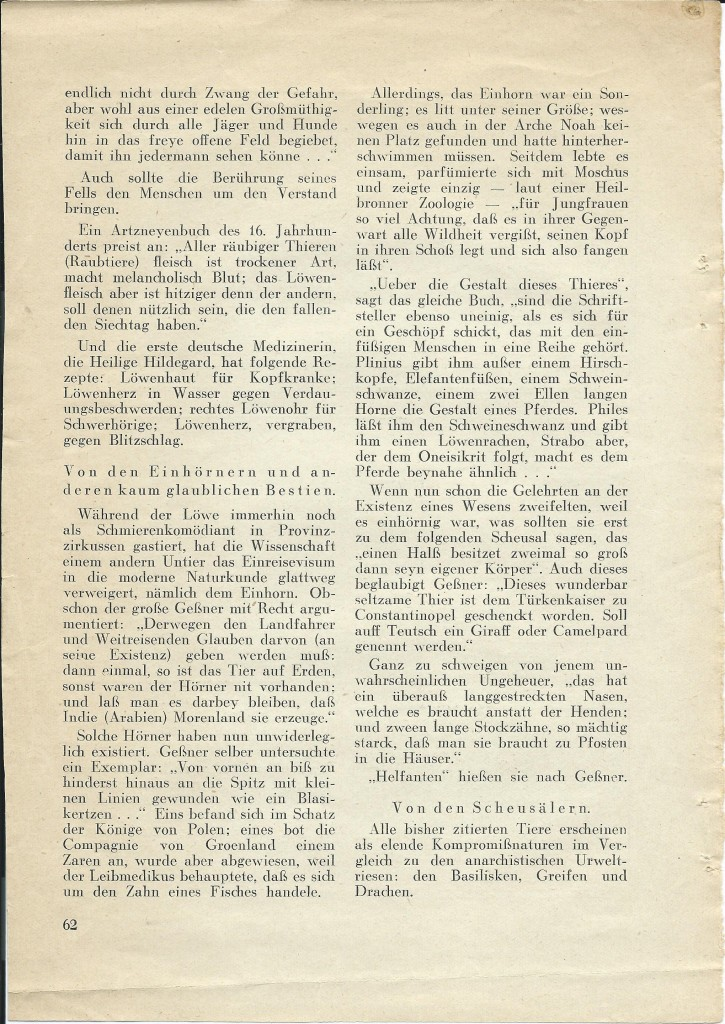 Walter Mehring: Zoologie vor 400 Jahren; erschienen in: Der Uhu, Februar 1929, S. 62
