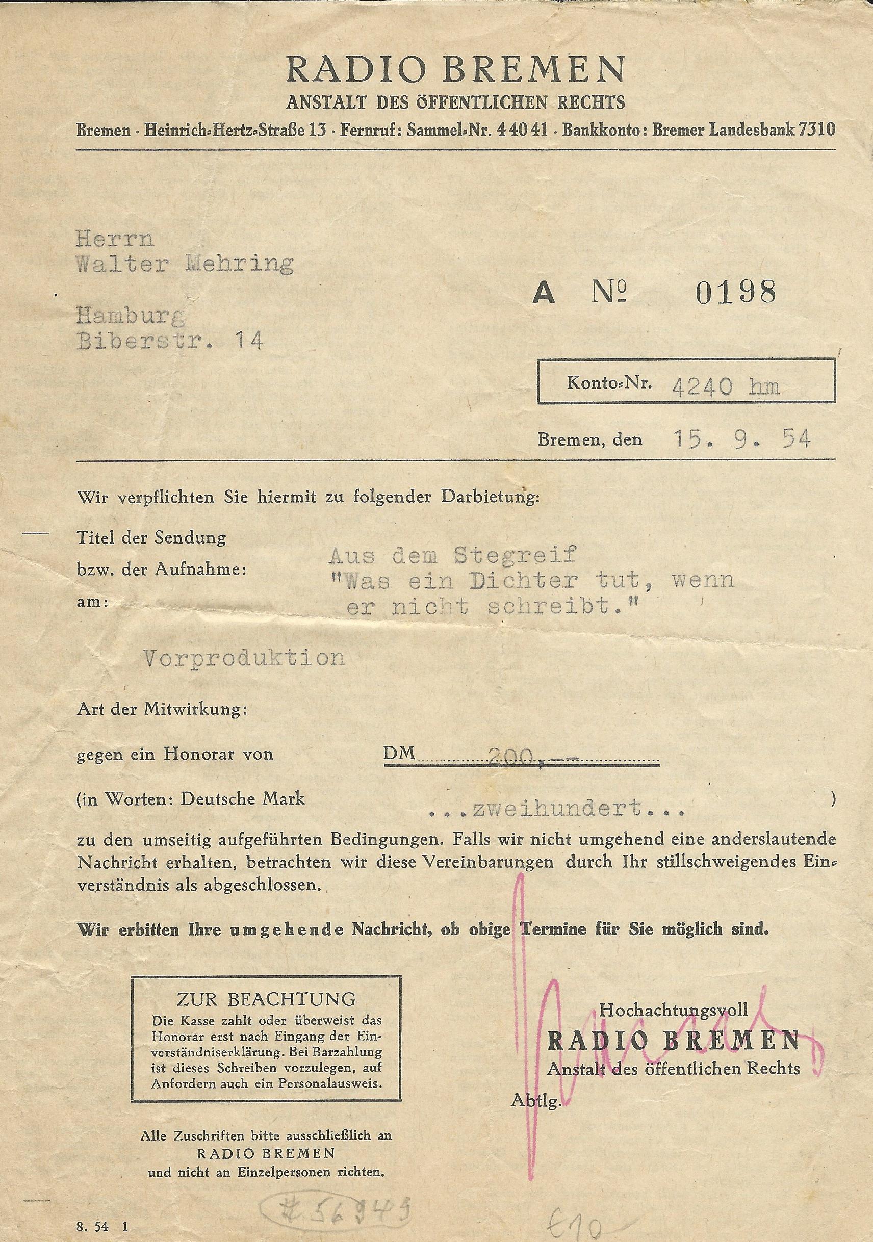 Vertrag zwischen radio Bremen und Walter Mehring aus dem Jahr 1954